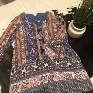 Paisley Mini Dress with Open Slit Long Sleeves